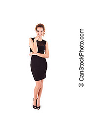 Pretty young business woman smiling on white background