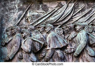 Union Soldiers Charging US Grant Statue Memorial Capitol...