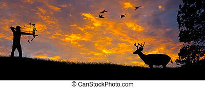 Bow Hunting Silhouette - Silhouette of a bow hunter aiming...