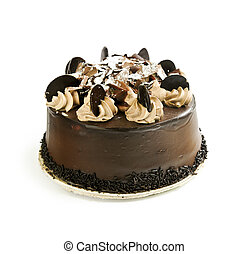 Chocolate cake - Round chocolate cake isolated on white...