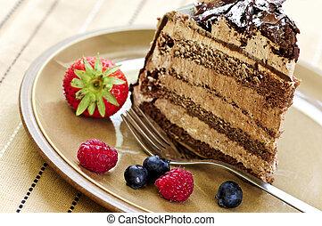 fatia, chocolate, bolo