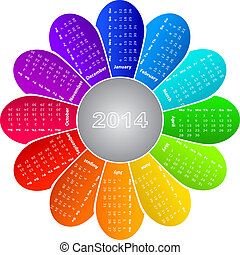 calendar 2014 - 2014 calendar on rainbow flower background