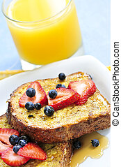 French toast - Breakfast of french toast with fresh berries...