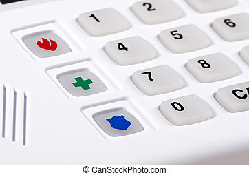 Home security alarm keypad - Closeup of home security alarm...