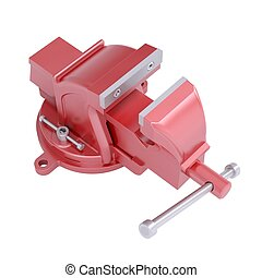 Red vise. Isolated render on a white background
