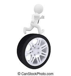 3d man running on the car wheel Isolated render on a white...