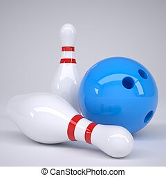 Bowling ball and pins. Render on a gray background