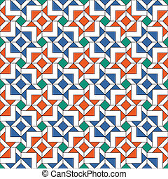 Seamless Arabic Pattern - Retro Tiles Pattern Inspired by...
