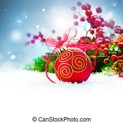 Christmas Holiday Background with Decorations and Snowflakes...