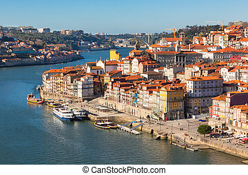 Overview of Old Town of Porto, Portugal Ribeira and Douro...