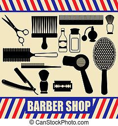 Vintage barber and hairdresser silhouette set - Vintage...