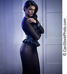 Mysterious elegant woman wearing evening dress - Mysterious...