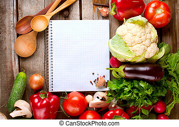Open Notebook and Fresh Vegetables Background Diet