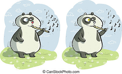 Panda with Flute Differences Visual Game for children....