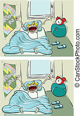 Waking up Differences Visual Game for children Illustration...