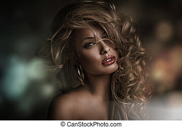 Perfect woman face with dark background - Picture of perfect...