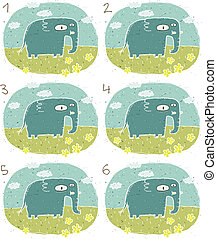 Elephant Visual Game for children. Illustration is in eps8...