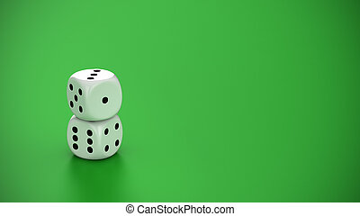 Two white dice on the green