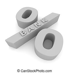 Banking interest rate - Letters Bank on the white percentage...