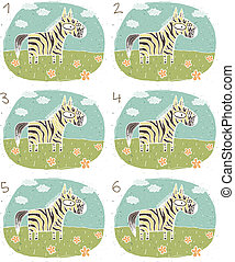 Zebra Visual Game for children Illustration is in eps8...