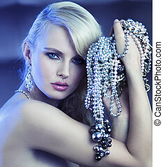 Fabulous woman with bouquet of jewelry - Fabulous blonde...