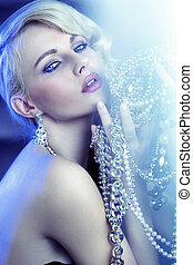 Stunning blonde beautiful woman with jewelry - Stunning...