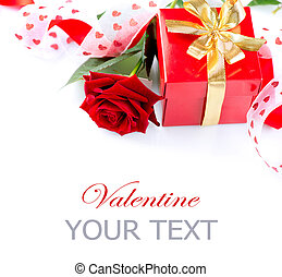 Valentines Gift. Rose Flower with Ribbon isolated on white