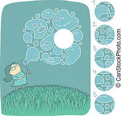 Girl with Soap Bubbles Visual Game for children Illustration...