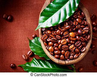 café, frijoles, tazón, primer plano, aromático