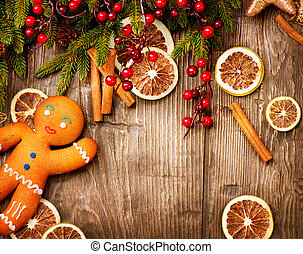 navidad, feriado, Plano de fondo, pan de jengibre, hombre