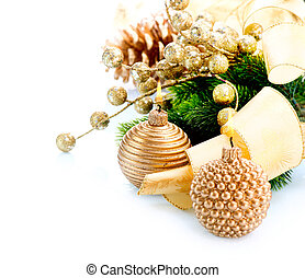 Christmas and New Year Decoration with Candle isolated on...