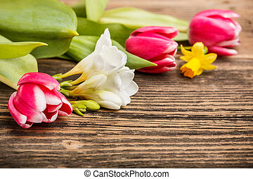 Spring flowers - First spring flowers on wooden background