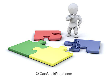 Complete the puzzle - Person stood by a jigsaw puzzle