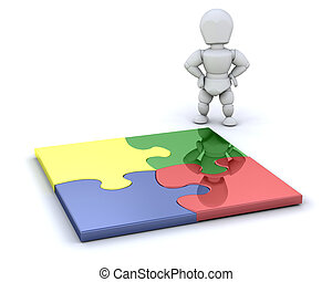 Completed puzzle - Person stood by a completed jigsaw puzzle