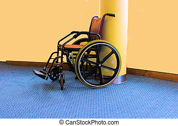 Wheel chair on the floor of a hospital