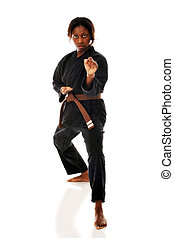 Karate Stance - A woman showing fist as she performs her...