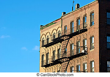 escape - fire escapes on old tenament buildings in boston...