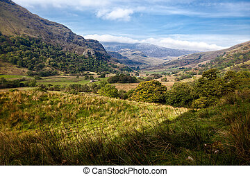 dolina, Snowdonia, krajowy, Park