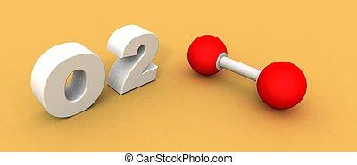 Oxygen molecule O2 - a 3d rendering of an oxygen molecule O2...