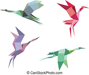 Cranes and herons birds in origami paper style for...