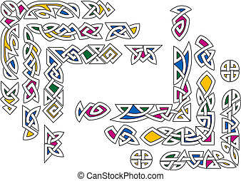 Celtic ornament elements - Celtic ornament with colorful...