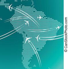 mapa, sur, América, rastro, aviones