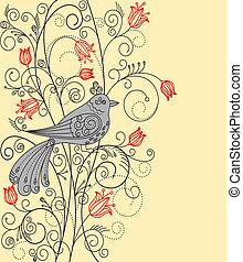 Abstract floral background with beautiful bird for greeting...