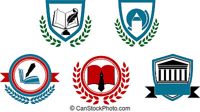 Set of abstract university or college symbols for heraldry...
