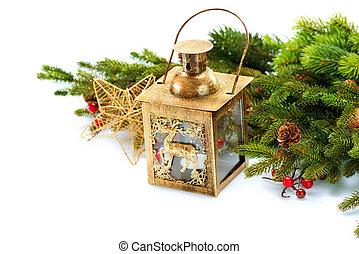 Natale, nuovo, anno, Decorazioni, isolato, bianco