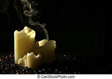 Candle Smoke - Smoke from a three piece candle set