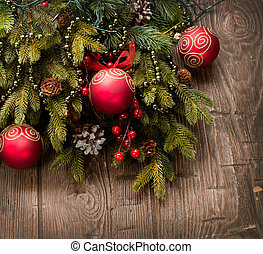Christmas Decoration. Holiday Decorations over wooden...