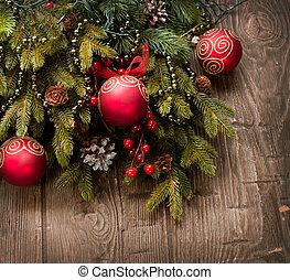 hintergrund, hölzern, aus, Dekoration, Dekorationen, Feiertag, Weihnachten