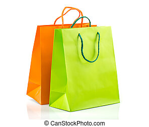 Shopping bags - Two paper Shopping bags with reflection on...