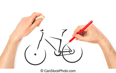Mans Hand draws a bicycle isolated on white background